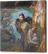Nymphs At A Grotto Canvas Print
