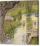 Nymphs Bathing Canvas Print