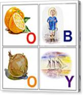 O Boy Art Alphabet For Kids Room Canvas Print