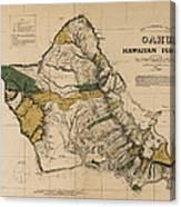 Oahu Sovereign Hawaii Map  1881 Canvas Print