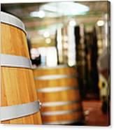 Oak Barrels And Winemaking Equipment In Canvas Print