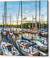 Oak Pt Harbor At Sundown Canvas Print