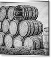Oak Wine Barrels Black And White Canvas Print