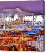 Ocean City By Night - Abstract Purple Canvas Print