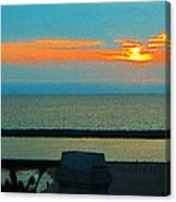 Ocean Sunset With Birds Canvas Print
