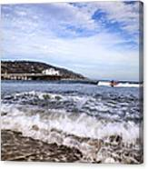 Ocean Waves Blue Sky And A Surfer At Malibu Beach Pier Canvas Print