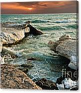 Ocean Waves Lapping At A Shoreline Canvas Print