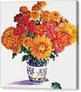 October Chrysanthemums Canvas Print