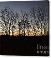 October Sunset Trees Silhouettes Canvas Print