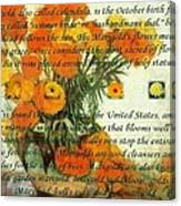 October's Child Birthday Card With Text And Marigolds Canvas Print