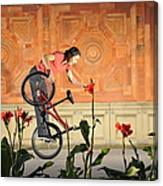 Oh A Pretty Flower - Funny Bmx Flatland Pic With Monika Hinz Canvas Print