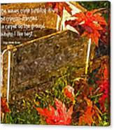 Oh How I Love Autumn With Poetry Canvas Print