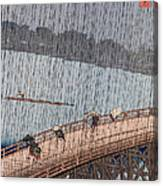 Ohashi Sudden Shower At Atake Canvas Print