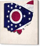 Ohio Map Art With Flag Design Canvas Print