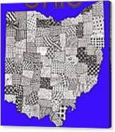 Ohio Map Blue Canvas Print