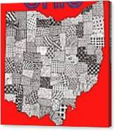 Ohio Map Red Canvas Print