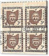 Ohio Three Cent Stamp Plate Block Canvas Print