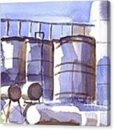 Oil Depot In April Canvas Print