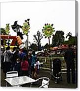 Oil Painting - A Table Along With The Dragon Coaster At The Blair Drummond Safari Park Canvas Print