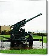 Oil Painting - Anti Aircraft Gun At Dover Castle Canvas Print