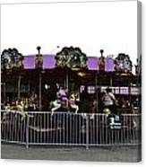 Oil Painting - Children And Adults At The Merry Go Round Inside The Blair Drumm Canvas Print