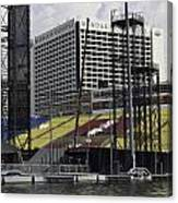 Oil Painting - Floating Platform And Construction Site In The Marina Bay Area Canvas Print