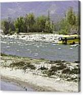 Oil Painting - Front Part Of School Bus In A Mountain Stream On The Outskirts Of Srinagar Canvas Print