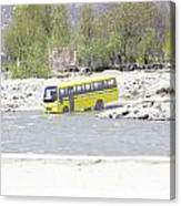 Oil Painting - School Bus In A Mountain Stream On The Outskirts Of Srinagar Canvas Print