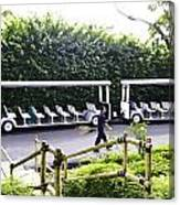 Oil Painting - Stationary Battery Powered Tourist Transport Vehicle Inside The Jurong Bird Park Canvas Print