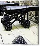 Oil Painting - Tourists And Cannons With Ammunition At The Wall Of Stirling Castle Canvas Print