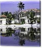 Oil Painting - View Of The Cottages And Palm Trees Canvas Print
