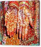 Oil Painting - Wonderfully Decorated Hands Of A Bride Canvas Print