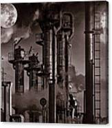 Oil Refinery With A Surreal Moonlight Canvas Print