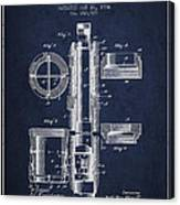Oil Well Packer Patent From 1904 - Navy Blue Canvas Print