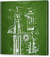 Oil Well Pump Patent From 1912 - Green Canvas Print