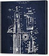 Oil Well Pump Patent From 1912 - Navy Blue Canvas Print