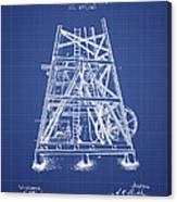Oil Well Rig Patent From 1893 - Blueprint Canvas Print