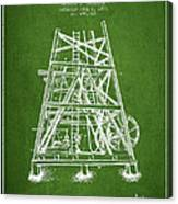 Oil Well Rig Patent From 1893 - Green Canvas Print