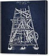 Oil Well Rig Patent From 1893 - Navy Blue Canvas Print