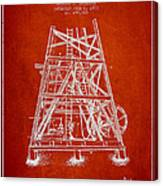 Oil Well Rig Patent From 1893 - Red Canvas Print