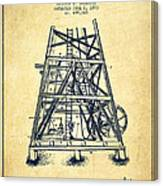 Oil Well Rig Patent From 1893 - Vintage Canvas Print