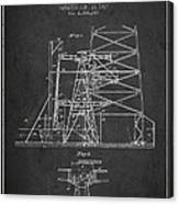 Oil Well Rig Patent From 1917- Dark Canvas Print