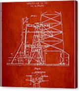 Oil Well Rig Patent From 1917- Red Canvas Print