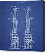 Oil Well Rig Patent From 1927 - Blueprint Canvas Print