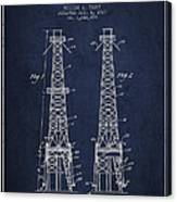 Oil Well Rig Patent From 1927 - Navy Blue Canvas Print