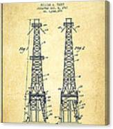 Oil Well Rig Patent From 1927 - Vintage Canvas Print