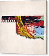 Oklahoma Map Art - Painted Map Of Oklahoma Canvas Print
