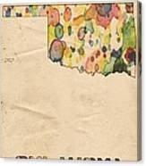 Oklahoma Map Vintage Watercolor Canvas Print