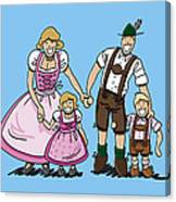 Oktoberfest Family Dirndl And Lederhosen Canvas Print