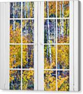 Old 16 Pane White Window Colorful Fall Aspen View  Canvas Print